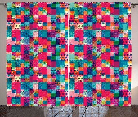 Gardine »Schlafzimmer Kräuselband Vorhang mit Schlaufen und Haken«, Abakuhaus, Geometrisch Italienisch Grunge Dots