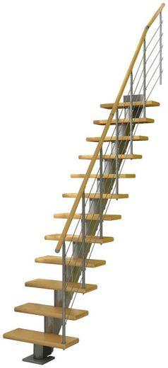 DOLLE Mittelholmtreppe »Frankfurt Birke 65«, bis 258 cm, Edelstahlgeländer, versch. Ausführungen