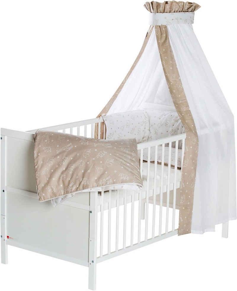 Schardt Babybett »Lenny, Origami Beige«, mit Bettwäsche, Nestchen, Himmel, Himmelstange und Matratze; Made in Germany