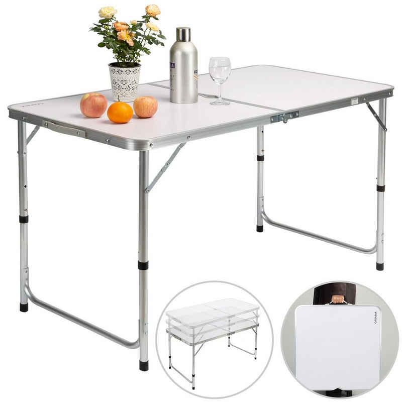 Casaria Campingtisch (1-St), platzsparend klappbar • höhenverstellbare Tischhöhe • wetterfestes Alu Gestell • leicht • Sonnenschirmhalterung • Tragegriff • leicht zu transportieren