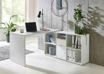 BMG Möbel Eckschreibtisch »Lena« (mit abschließbarer Tür, Computertisch, Winkelschreibtisch, Homeoffice, Bürotisch), Made in Germany