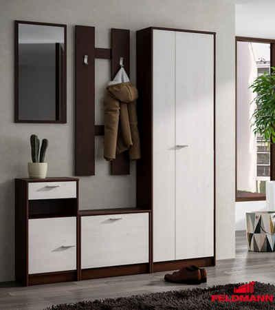 Feldmann-Wohnen Garderobe »MAJA« (Set, 5 Stück, 1 Spiegel, 1 Paneel, 1 Hochschrank, 1 Kommode und 1 Schuhklapper), Gesamtmaße B/T/H: 160 cm x 26 cm x 190,5 cm