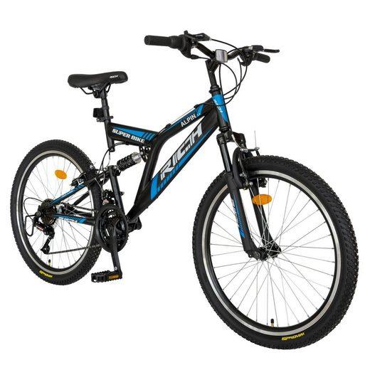 RICH Mountainbike »Fahrrad Herren Jungen 26 Zoll Mountainbike MTB, 18 Gang, Stahl Rahmen, V-Brake Bremsen, mechanischen Scheibenbremse«, 18 Gang, Kettenschaltung
