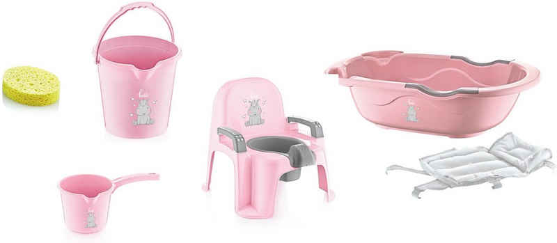 Babyjem Babybadewanne »pink«, (Set, 6-tlg), Made in Europe