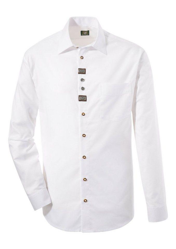Herren OS-Trachten Trachtenhemd dezente Trachten-Applikationen weiß | 04059755772294