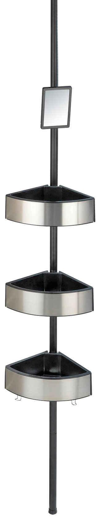WENKO Duschregal »Premium Big Black«, 1-tlg., 3 Ablagen, mit Spiegel, höhenverstellbar 70-260 cm