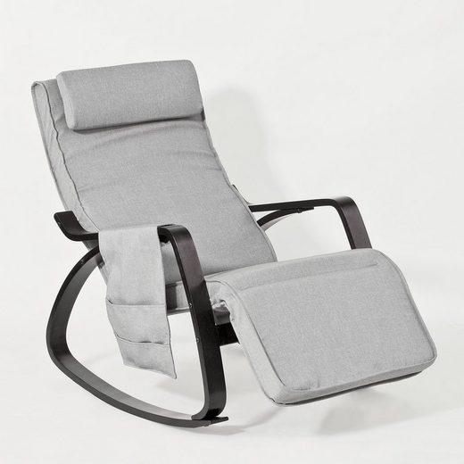 SoBuy Schaukelstuhl »FST20«, Schwingsessel Relaxsessel mit Tasche 5-Fach verstellbares Fussteil