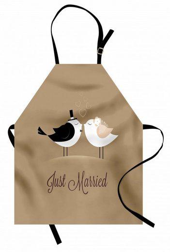 Abakuhaus Kochschürze »Höhenverstellbar Klare Farben ohne verblassen«, Hochzeit Just Married Vögel Kuss