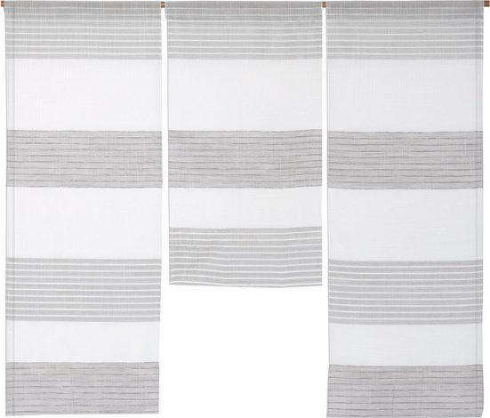 Scheibengardine »3er Set Miniflächen Vorhänge Scheibengardine Küchengardine Bistrogardine 4014 09 Weiß Grau Leinenoptik«, EXPERIENCE, Stangendurchzug (3 Stück), 3er Set Flächenvorhänge