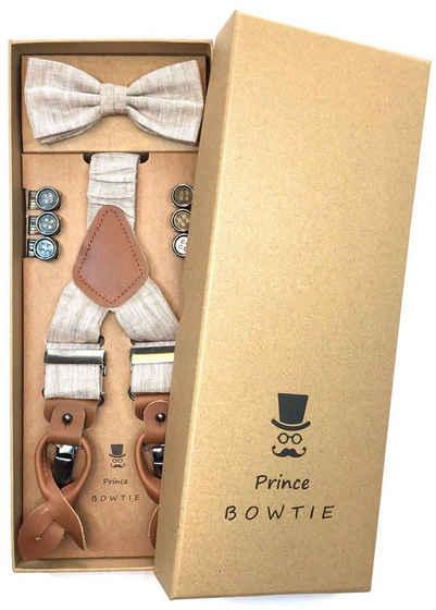 Prince Bowtie Hosenträger »Prince Bowtie Hosenträger Set mit Fliege« Prince Bowtie Hosenträger Set mit Fliege in Leinen Optik