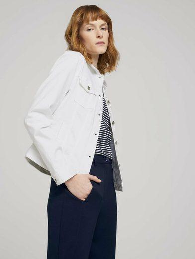 TOM TAILOR Jeansjacke »Gefärbte Jeansjacke mit Bio-Baumwolle und Knitterdetails«