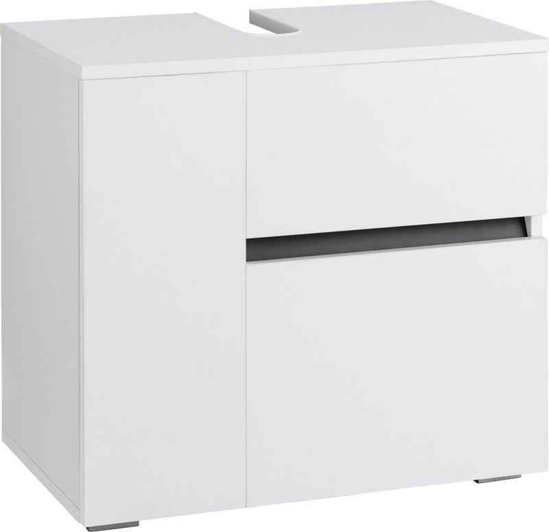 Home affaire Waschbeckenunterschrank »Wisla« platzsparend, Tür und Klappe mit Push-to-open-Funktion, 1 Schubkasten, Breite 60 cm, Höhe 55 cm