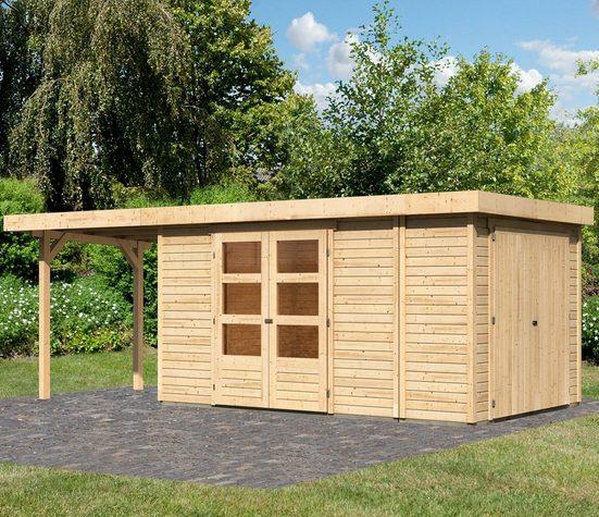 WOODFEELING Set: Gartenhaus »Retola 6«, BxT: 646x262 cm, mit Anbauschrank und Anbaudach