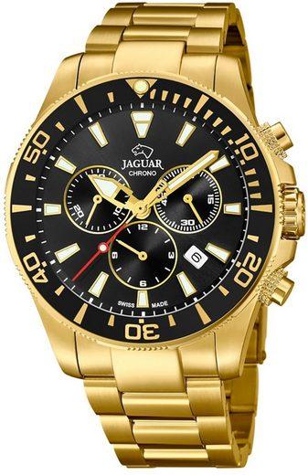 Jaguar Chronograph »UJ864/3 Jaguar Herren Uhr Sport J864/3 Edelstahl«, (Chronograph), Herren Armbanduhr rund, groß (ca. 44mm), Edelstahlarmband gold