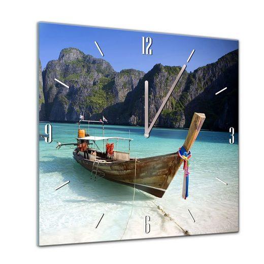 Bilderdepot24 Deco-Panel, Glasuhr - Sonne, Strand und Meer - Maya Bay Thailand - 40x40cm