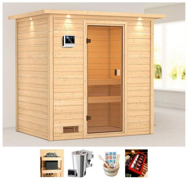Saunen und Zubehör - KARIBU Sauna »Sunie«, 223x159x191 cm, 3,6 kW Plug Play Bio Ofen Strg., Dachkranz  - Onlineshop OTTO