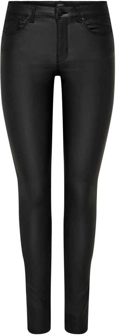Angel of Style Lederimitat-Leggings feminin unifarben slim fit lang elastisch
