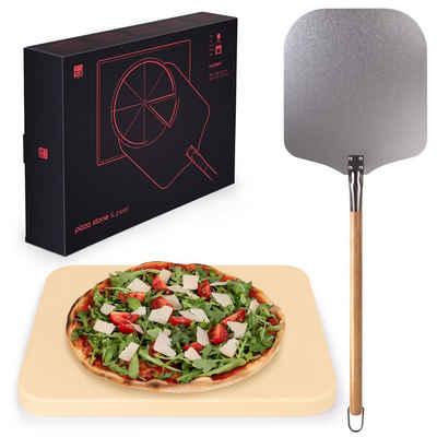 Blumtal Pizzastein »Gasgrill & Pizzasschieber - Für Backofen, Grill Steinofen Backstein, rechteckig, abnehmbarer Griff«, Cordierit