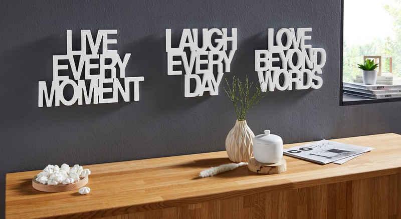 andas Wanddekoobjekt »Schriftzug Live every Moment - Love beyond Words - Laugh every Day« (3 Stück), Wanddeko