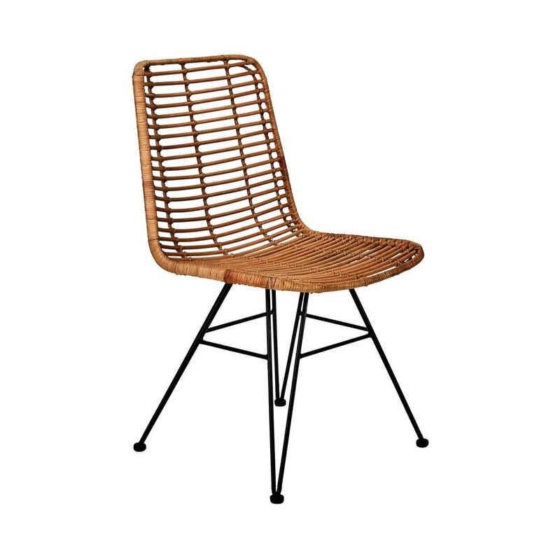 BUTLERS Stuhl »HACIENDA Rattan-Stuhl«, brauner Rattan-Stuhl - Sitzgelegenheit aus Rattan, Gestell: alckiertes Eisen -Schreibtischstuhl, Esszimmerstuhl, Küchenstuhl