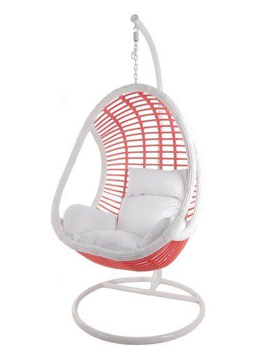 KIDEO Hängesessel »Candy«, Hängesessel mit Gestell & Kissen, Loungemöbel, Rattanmöbel, Swing Chair, pink weiß
