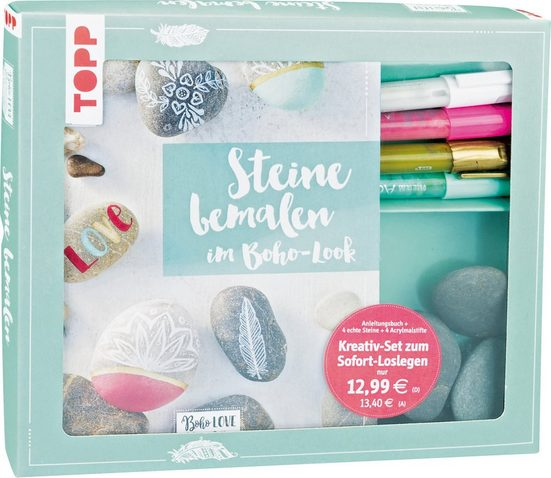 Topp Kreativset »Steine bemalen im Boho-Look«, inkl. 4 Acrylmalstifte