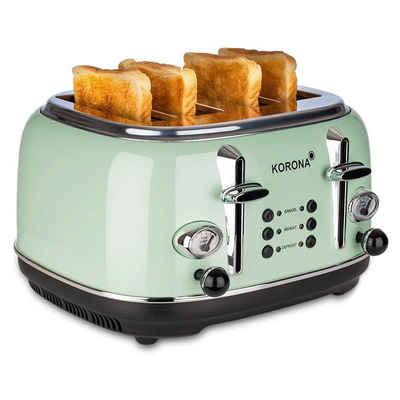 KORONA Toaster Retro Toaster 4 Scheiben, Vintage Design / Style, Analoge Anzeigen, 2 separate Röstbereiche, Chrom, 21675 - Mint