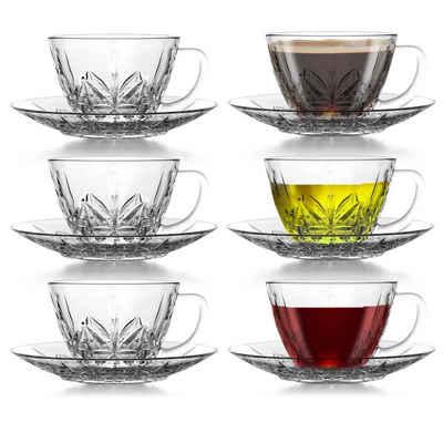 Fiora Kaffeeservice »Glastassen mit Griff und Untersetzer Kaffeetassen Kristall Muster Teetassen Kaffeeservice Teeservice 12 Tlg« (12-tlg), Spülmaschinengeeignet, Mikrowellengeeignet