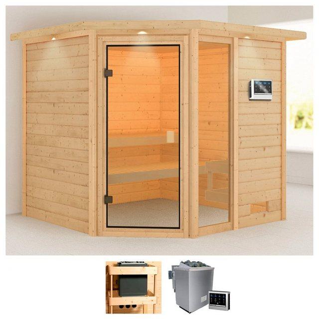 Saunen und Zubehör - KARIBU Sauna »Tally«, 224x210x191 cm, 9 kW Bio Ofen mit ext. Steuerung, Dachkranz  - Onlineshop OTTO
