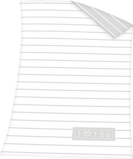 Babydecke »I love you«, Baby Best, mit Schriftzug und Streifen