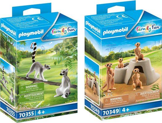 Playmobil® Konstruktions-Spielset »Erdmännchenkolonie (70349) und 2 Kattas (70355), Family Fun«, (Set, 2 St), Made in Europe