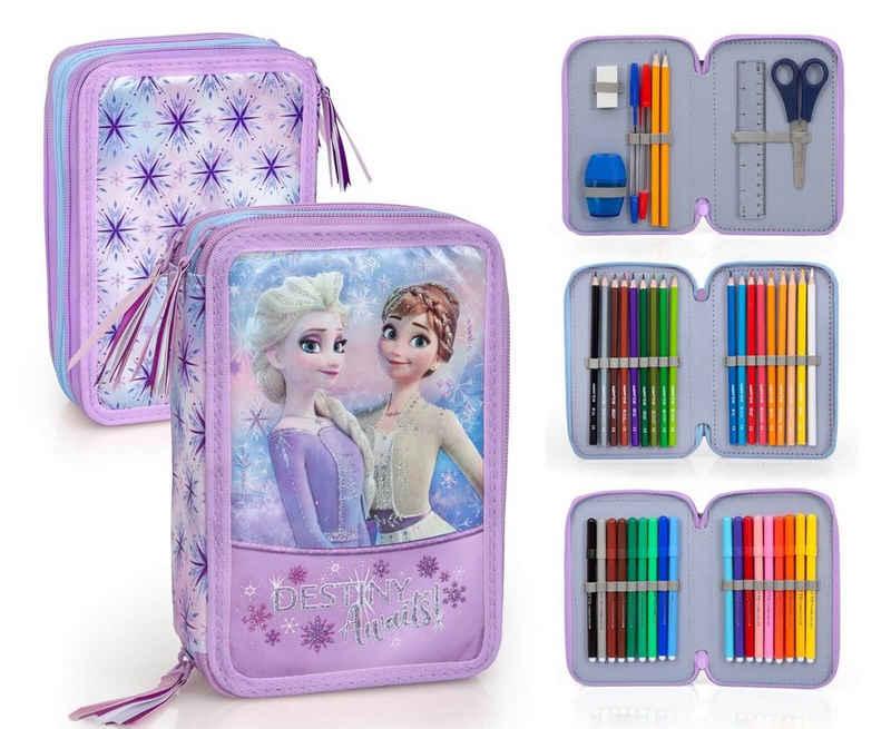 Disney Frozen Federmäppchen »Disney´s Die Eiskönigin - Federmäppchen mit Glitzer-Details, 3-fach gefüllt«, (44-tlg., Mädchen), Reißverschluss