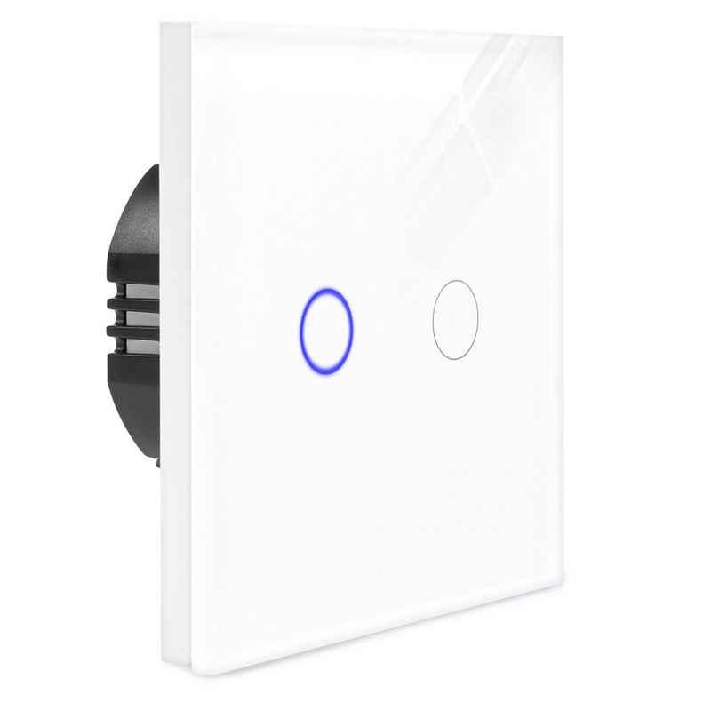 Navaris Lichtschalter, 2-fach Touch Wandschalter - mit Montagematerial Glas Panel und Status-LED - Licht Schalter innen außen - Einbauschalter