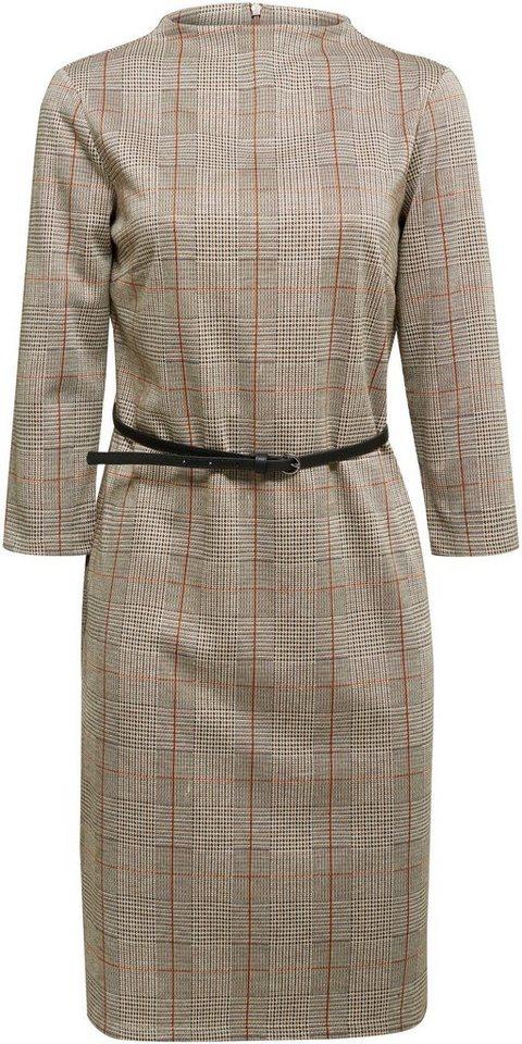 esprit collection -  Jerseykleid (2-tlg., mit abnehmbarem Gürtel) mit kleinem Stehkragen und Karo-Muster