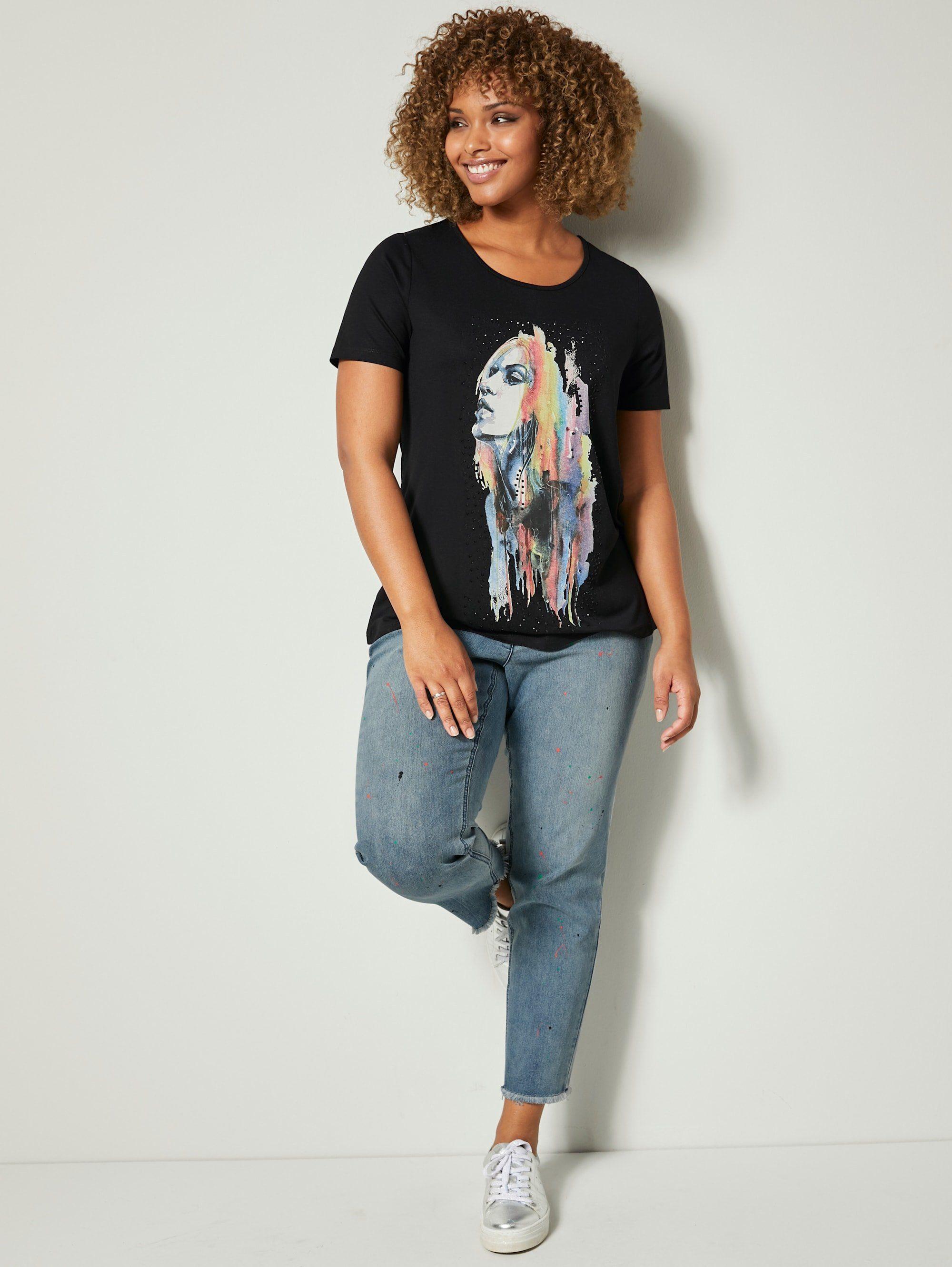 Angel Of Style By Happy Size Jeans Mit Druck In Farbspritzeroptik Online Kaufen L2TXsR9f