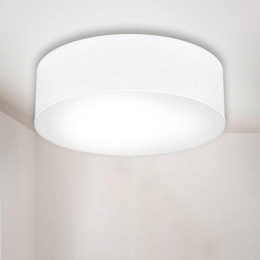 B.K.Licht Deckenleuchte, LED Deckenlampe Stoff Textilschirm Deckenlampe Wohnzimmer Schlafzimmer weiß E27