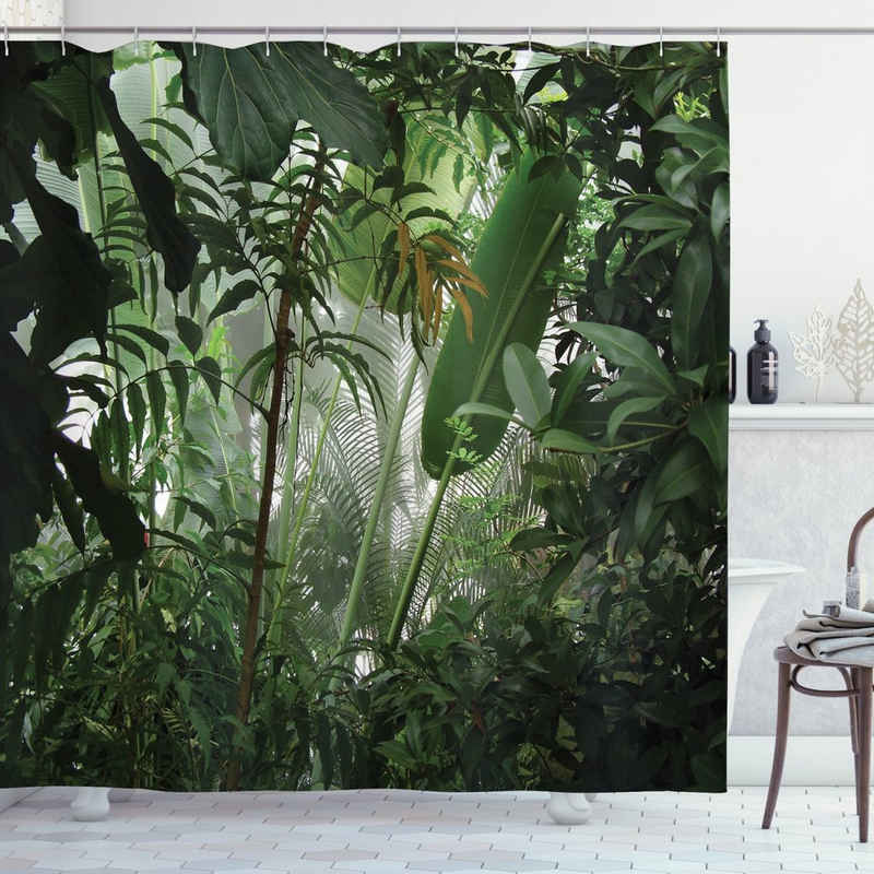 Abakuhaus Duschvorhang »Moderner Digitaldruck mit 12 Haken auf Stoff Wasser Resistent« Breite 175 cm, Höhe 180 cm, Grün Tropischer Regenwald Wilde