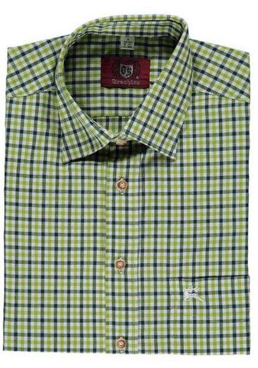 OS-Trachten Trachtenhemd »Trachtenhemd Herren kariert grün/dunkelgrün, Langarm, zum Krempeln, Brusttasche« modisch kariert