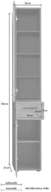 Badschränke - trendteam Hochschrank »Skin« Höhe 182 cm, Badezimmerschrank mit Fronten in Hochglanz oder Holzoptik, mit Schubkasten  - Onlineshop OTTO