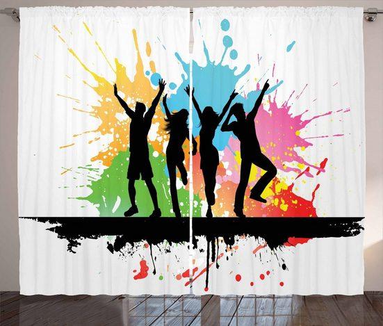 Gardine »Schlafzimmer Kräuselband Vorhang mit Schlaufen und Haken«, Abakuhaus, Jugend Tanz-Party-Menschen Farben