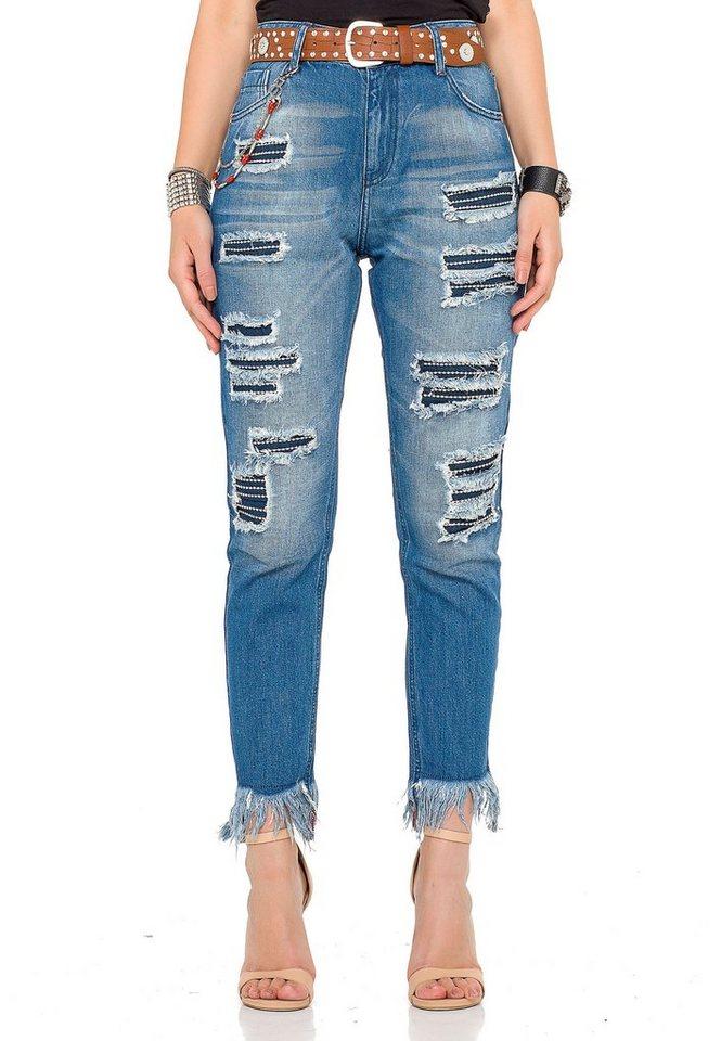 cipo & baxx -  Bequeme Jeans mit modischen Cut-Outs und coolem Gürtel