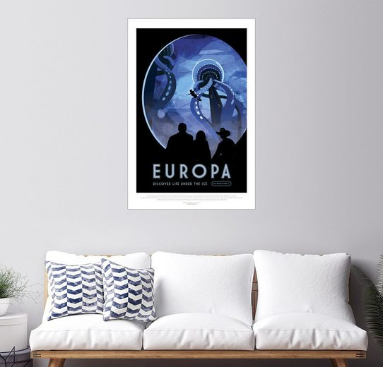 Posterlounge Wandbild, Retro Space Travel – Europa