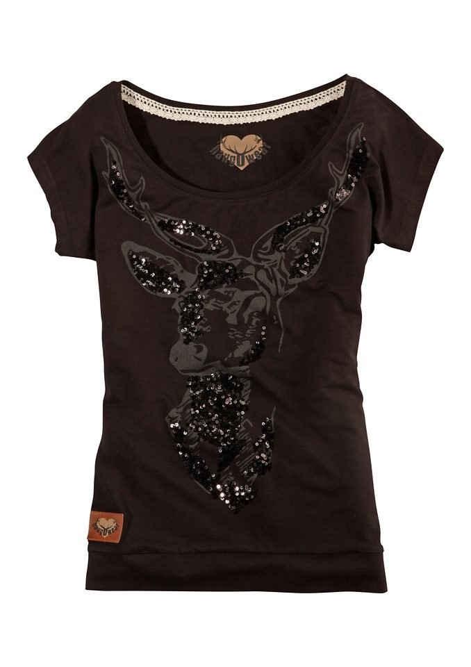 Hangowear Trachtenshirt mit Hirsch-Aufdruck