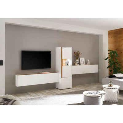 Lomadox TV-Wand »CRISP-61«, (3-tlg), Anbauwand Wohnzimmer inkl. Beleuchtung in weiß mit Absetzungen in Wotan Eiche Nb., B/H/T: ca. 350/155/40 cm