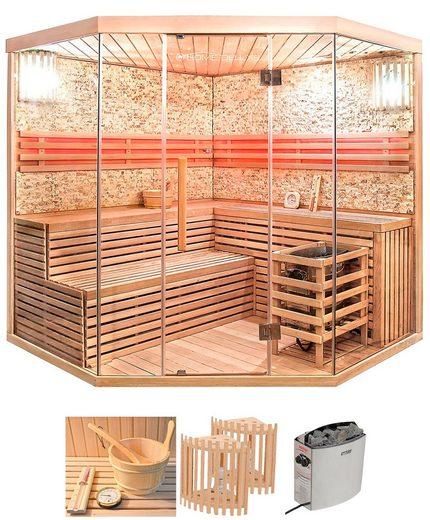 HOME DELUXE Sauna »Skyline XL BIG«, BxTxH: 200 x 200 x 200 cm, 50 mm, (Set) 8 kW Ofen mit int. Steuerung