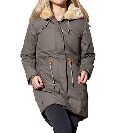 MAZINE Parka »MAZINE Bellingham Parka vegane Damen Winter-Jacke mit Kunstleder-Applikationen Outdoor-Jacke Grau«