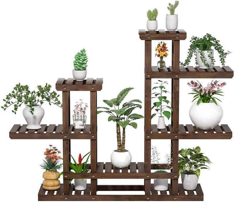 Yaheetech Blumenständer, Pflanzenregal Holz, Blumenregal Outdoor, Blumentreppe 6 Ebenen, Pflanzentreppe mehrstöckig Holzregal 120,5x25x96,5 cm, für Garten Wohnzimmer Balkon Innen