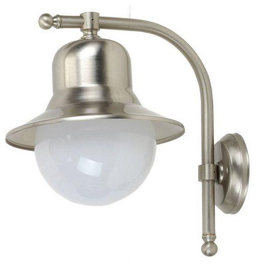 Licht-Erlebnisse Außen-Wandleuchte »SAMOS Wandlampe in Nickel Echtmessing Glas Maritim wetterfest Hof Terrasse«