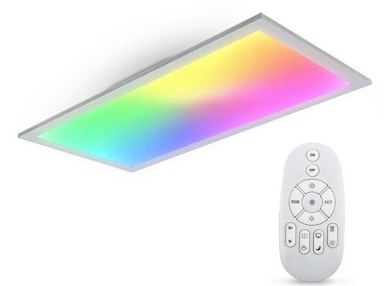 B.K.Licht Deckenleuchte, Panel, Farbtemperatur stufenlos einstellbar, 595x295x42mm, 7 Farben, RGB, Dimmbar, Ultra Flach, Fernbedienung
