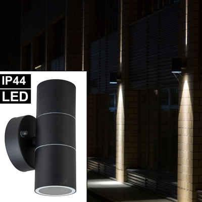 etc-shop LED Außen-Wandleuchte, Außen Wand Leuchte Edelstahl Fassaden Park Beleuchtung UP DOWN Lampe im Set inkl. LED Leuchtmittel